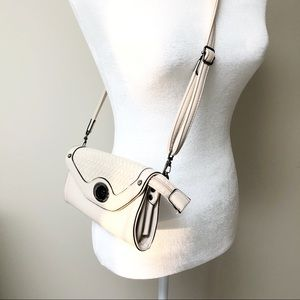 Small Bone Color Crossbody Bag-Zipper Closure